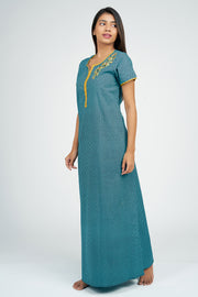 Maybell-Floral embroidered Nighty - Turquoise