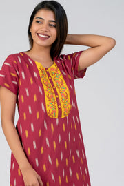 Maybell-Ikat printed nighty - Maroon19