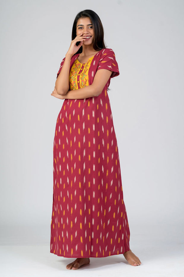 Maybell-Ikat printed nighty - Maroon1