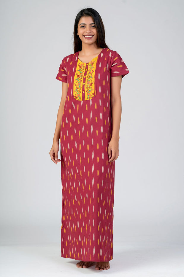 Maybell-Ikat printed nighty - Maroon2