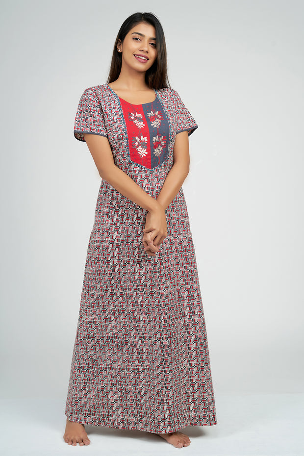 Maybell-Ditsy line printed nighty - Red1