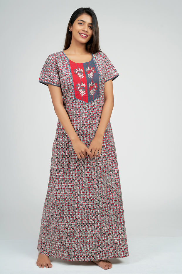 Maybell-Ditsy line printed nighty - Red2