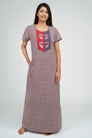 Maybell-Ditsy line printed nighty - Red3