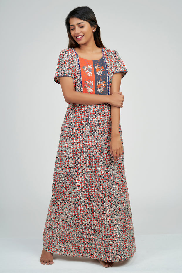 Maybell-Ditsy line printed nighty - Orange2