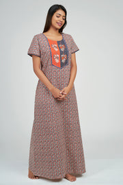 Maybell-Ditsy line printed nighty - Orange