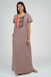 Maybell-Ditsy line printed nighty - Orange3