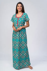 Maybell-Bandhni printed nighty - Blue2