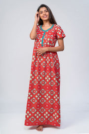 Maybell-Bandhni printed nighty - Red