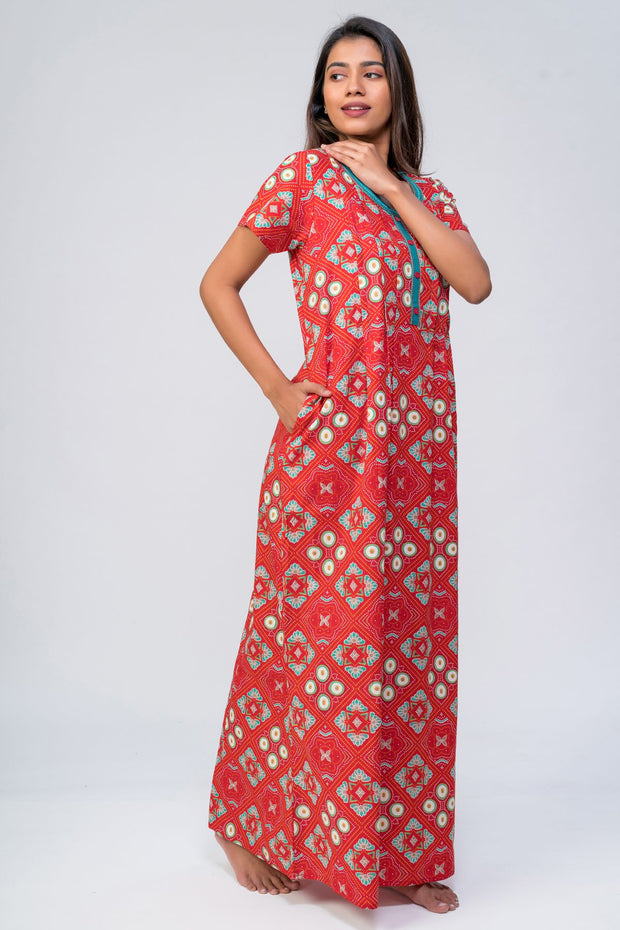 Maybell-Bandhni printed nighty - Red1