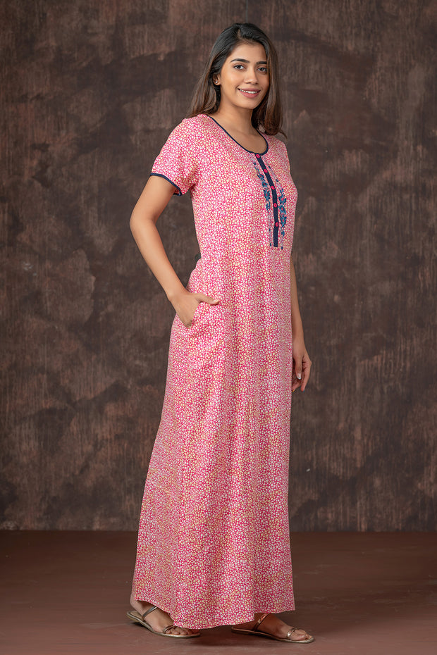 All Over Tiny Geometric Printed Nightwear - Pink