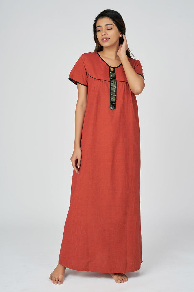 Cross Cotton Nighty - Red