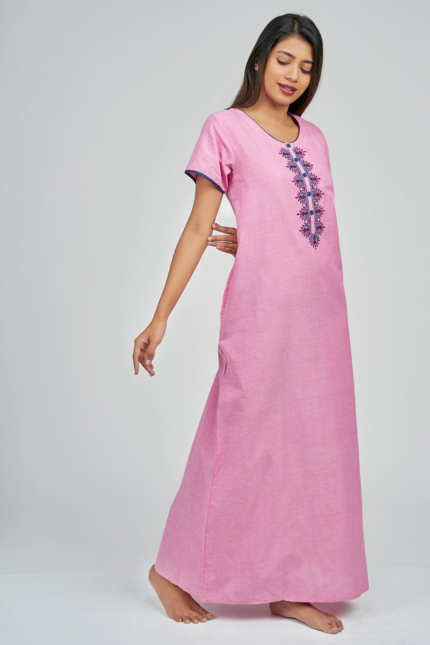 Maybell-Plain nighty - Pink5