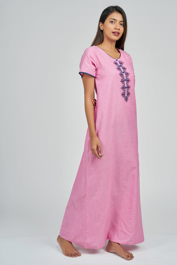 Maybell-Plain nighty - Pink1