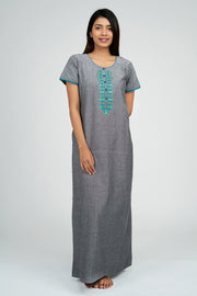 Maybell-Plain nighty - Grey1