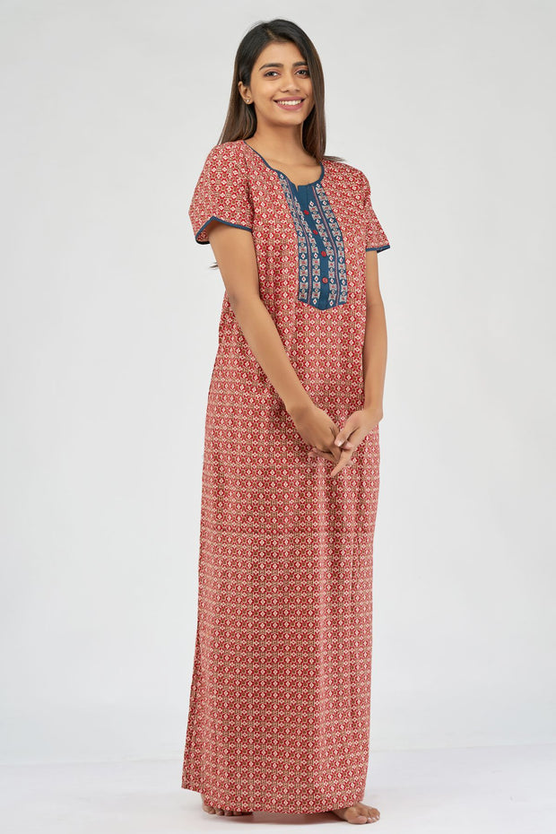 All over ajrakh printed nighty- Red