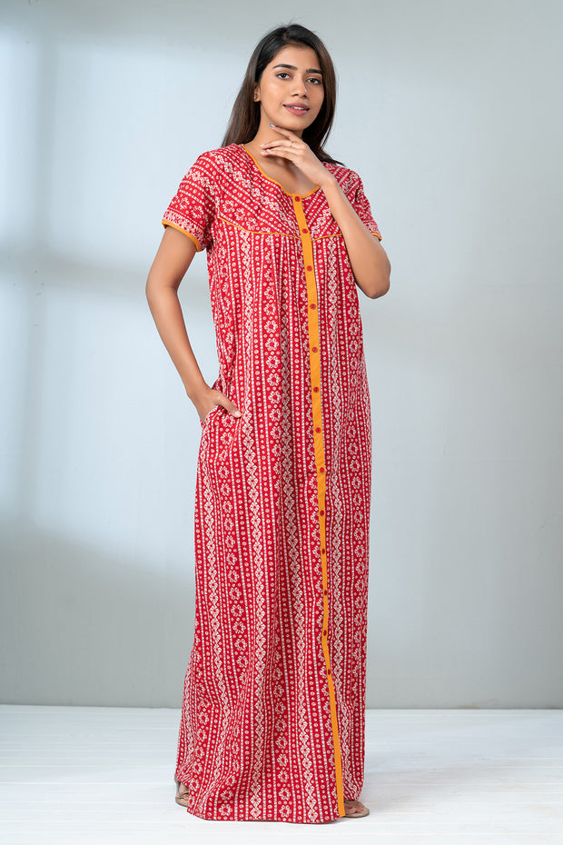 Geometric Batik Printed Front Open Nightwear - Red