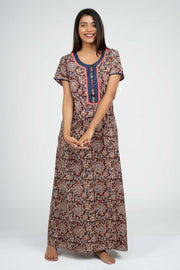 Maybell-Kalamkari Printed Nighty -Brown2