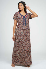 Maybell-Kalamkari Printed Nighty -Brown8