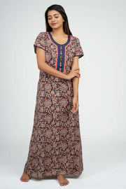 Maybell-Kalamkari Printed Nighty -Brown