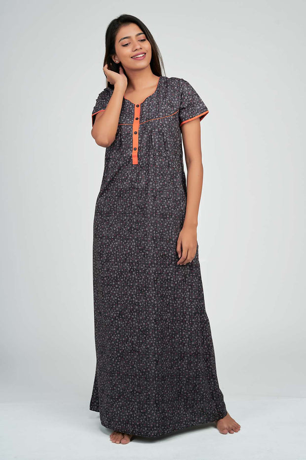Maybell-Texture printed nighty - Grey2