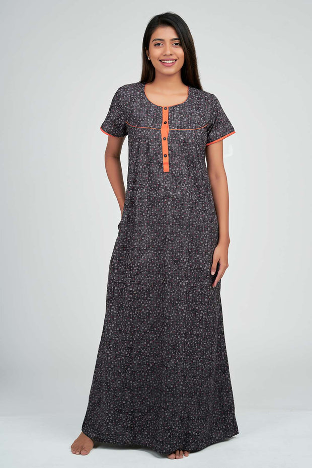 Maybell-Texture printed nighty - Grey1