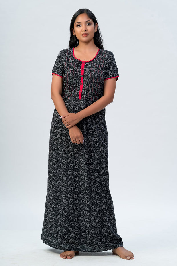 Maybell-All over printed nighty - Black