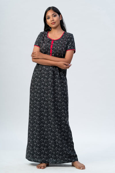 Maybell-All over printed nighty - Black2