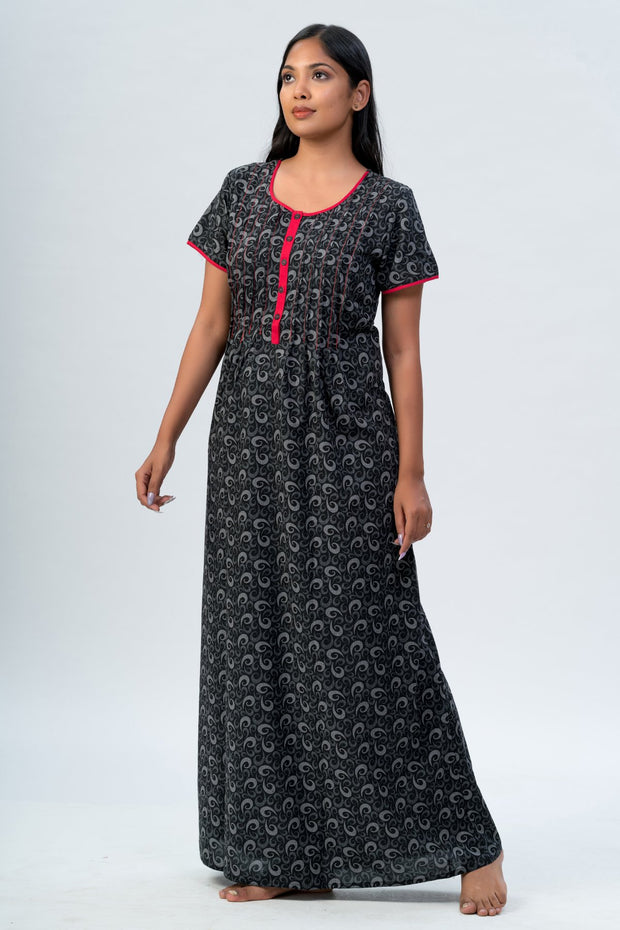 Maybell-All over printed nighty - Black3