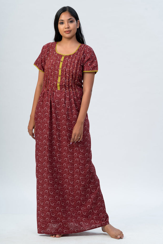 Maybell-All over printed nighty - Red2