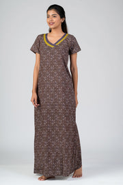 Maybell-Aztec printed nighty - Grey3