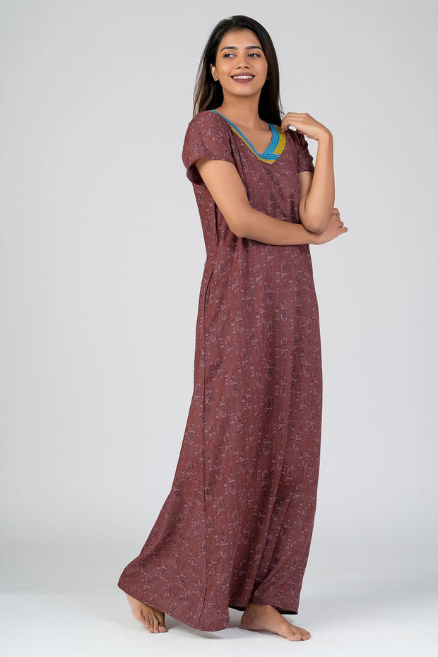 Maybell-Aztec printed nighty - Red1