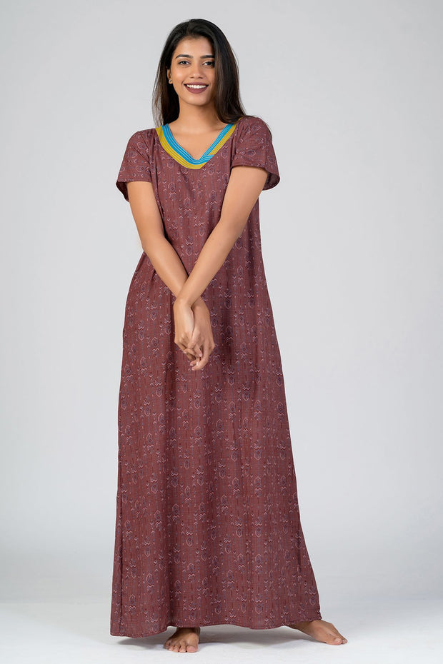 Maybell-Aztec printed nighty - Red2
