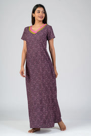 Maybell-Aztec printed nighty - Purple1