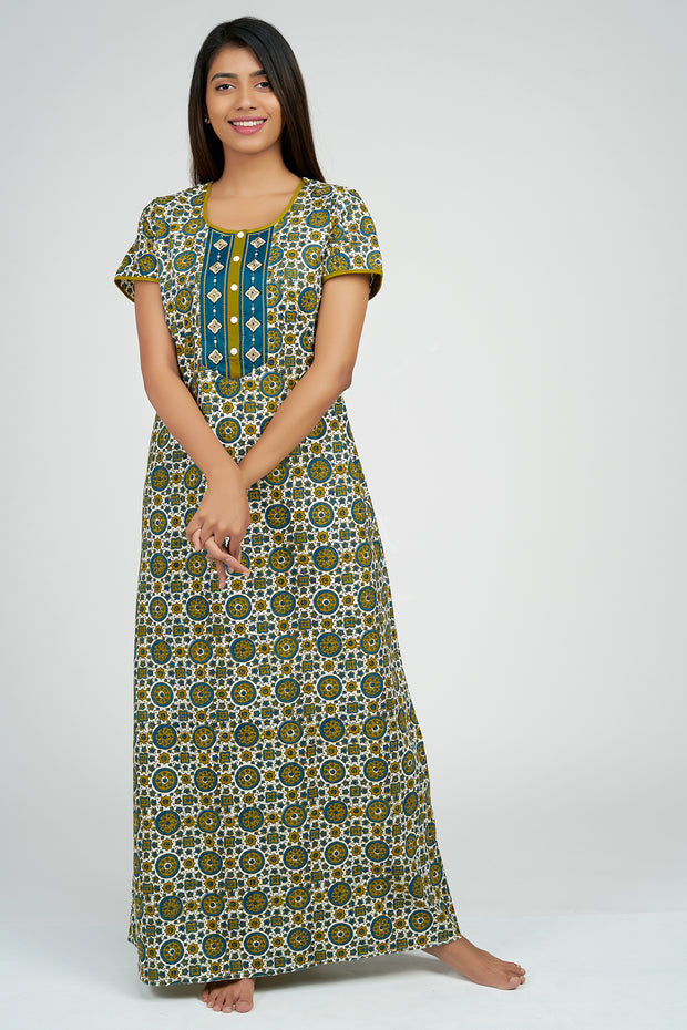 Maybell-Ajrak Inspired Printed Nighty - Blue1