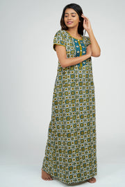 Maybell-Ajrak Inspired Printed Nighty - Blue2