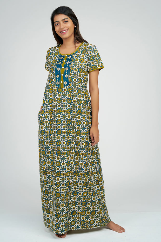Maybell-Ajrak Inspired Printed Nighty - Blue3