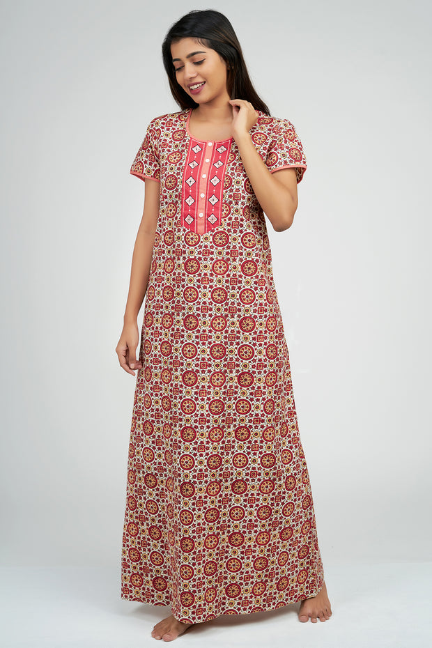 Maybell-Ajrak Inspired Printed Nighty - Red
