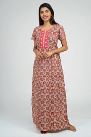 Maybell-Ajrak Inspired Printed Nighty - Red2