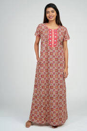 Maybell-Ajrak Inspired Printed Nighty - Red33