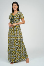Maybell-Ajrak Inspired Printed Nighty -Yellow1