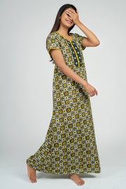 Maybell-Ajrak Inspired Printed Nighty -Yellow2