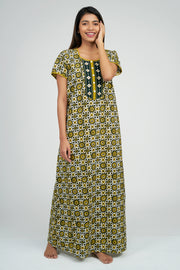 Maybell-Ajrak Inspired Printed Nighty -Yellow3
