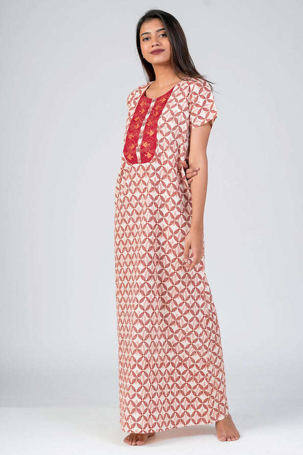Maybell-Madhubani pattern printed nighty - Red1