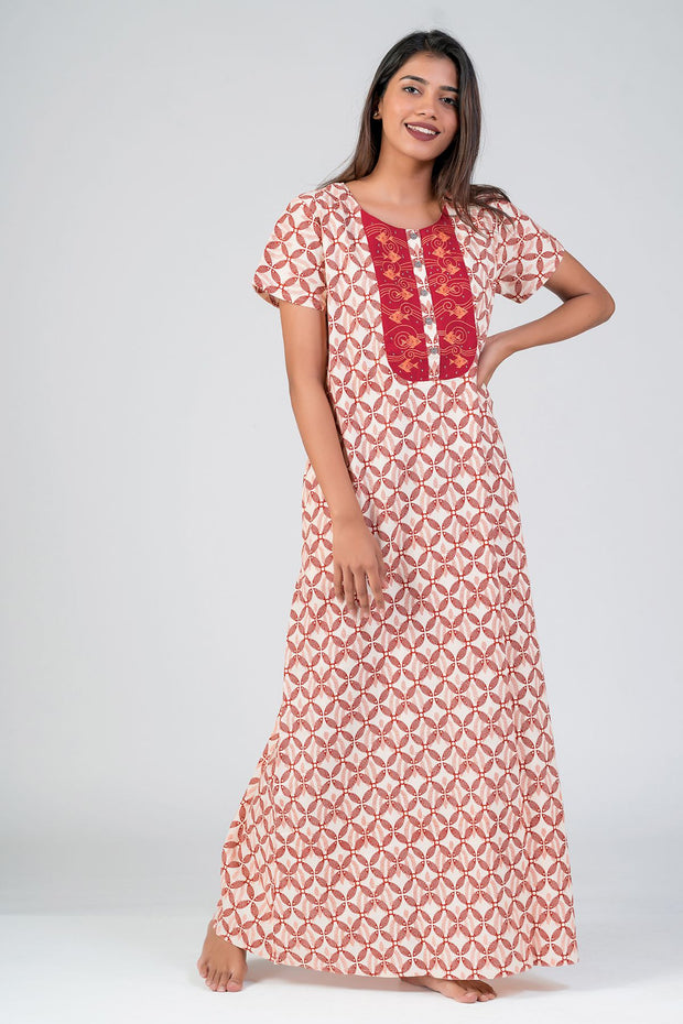Maybell-Madhubani pattern printed nighty - Red2
