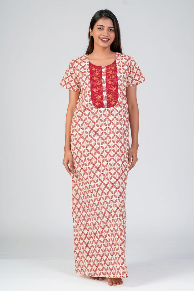 Maybell-Madhubani pattern printed nighty - Red3