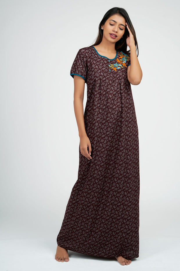 Maybell-Paisley all over nighty - Magenta3