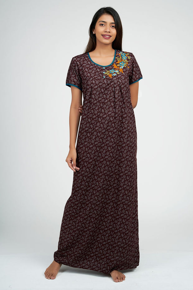 Maybell-Paisley all over nighty - Magenta