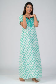 Maybell-All over Muracan floral Printed & Yoke Embroidered Nightwear- green