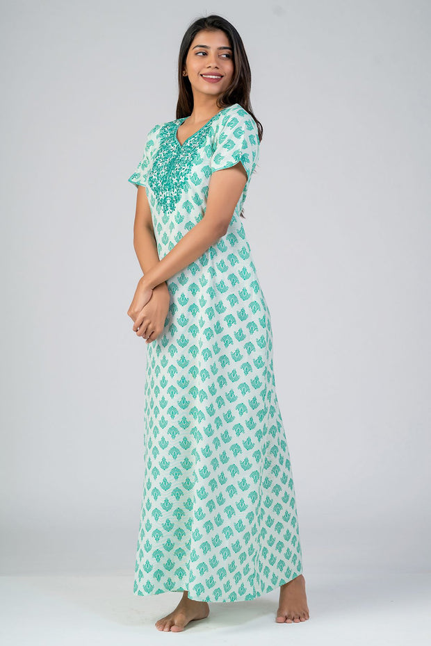 Maybell-All over Muracan floral Printed & Yoke Embroidered Nightwear- green2