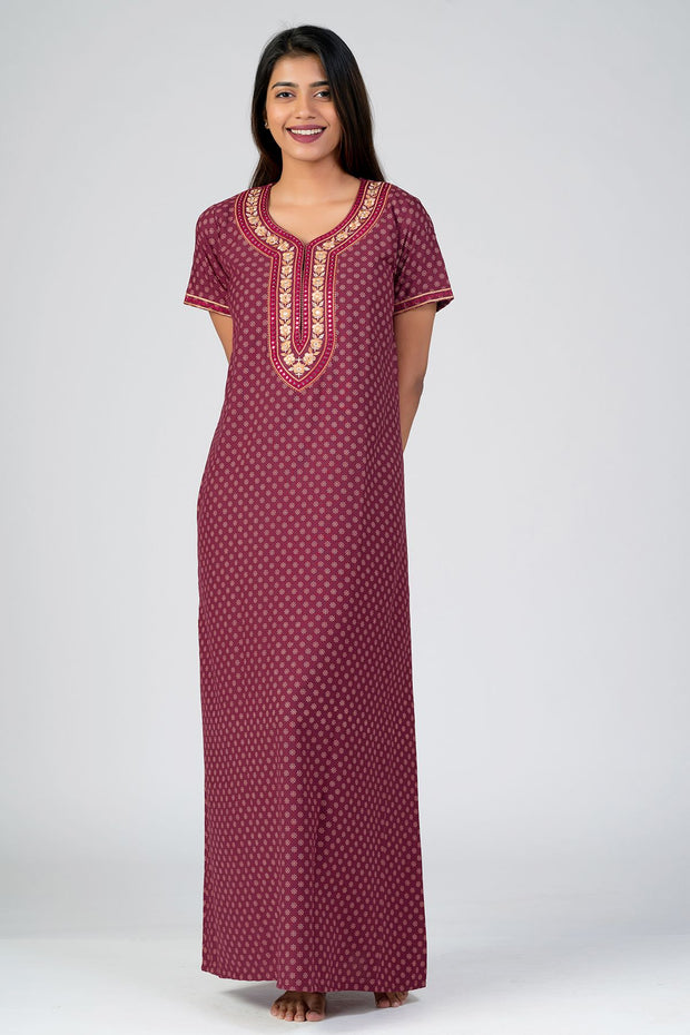 Maybell-All over Floral Printed & Yoke Embroidered Nightwear- Maroon2
